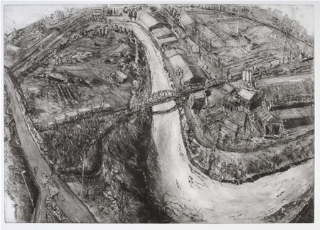 Albert Road Viaduct II Etching and aquatint 55 x 78 cm by Ros Ford